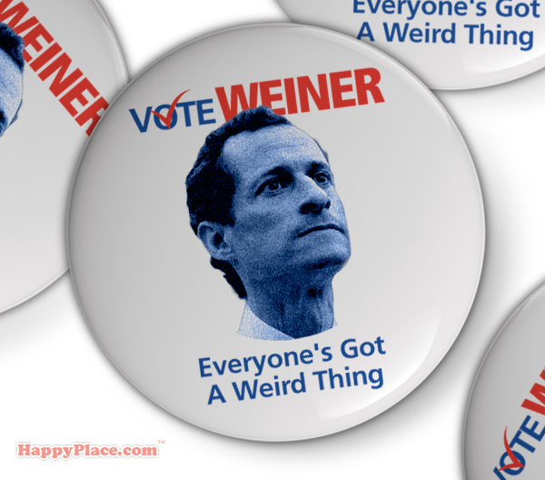 Anthony Weiner reveals new campaign buttons and posters in response to his latest peniscapade.