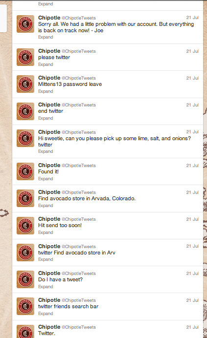 Chipotle pretended to hack its own Twitter feed.