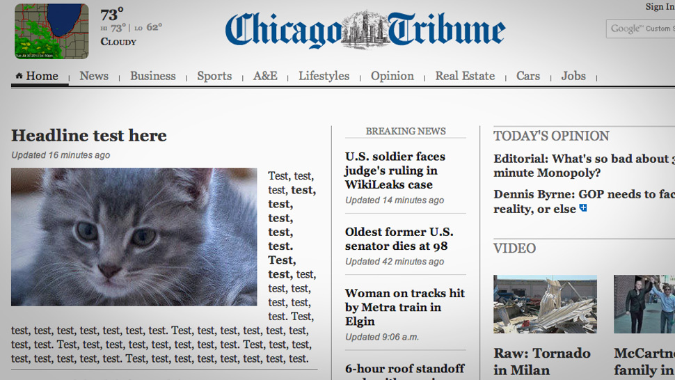 Chicago Tribune homepage accidentally covered in giant, adorably embarrassing mistake.