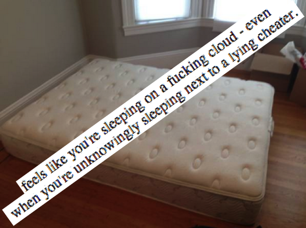 "A guy got cheated on. So he posted this wonderful mattress ad on Craigslist offering a deal on his ""bed of lies."""