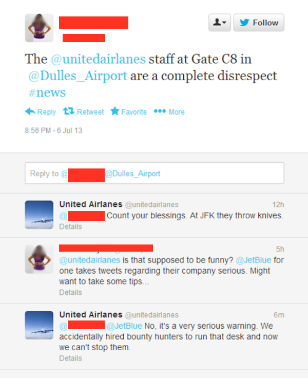 Someone made the parody Twitter account @UnitedAirlanes. Then angry passengers who can't spell started tweeting at him.