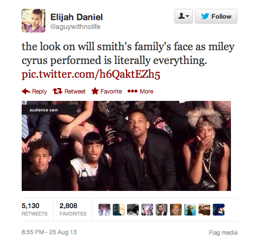 This photo of Will Smith's family reacting to Miley Cyrus's performance sums up everything about last night's VMAs.