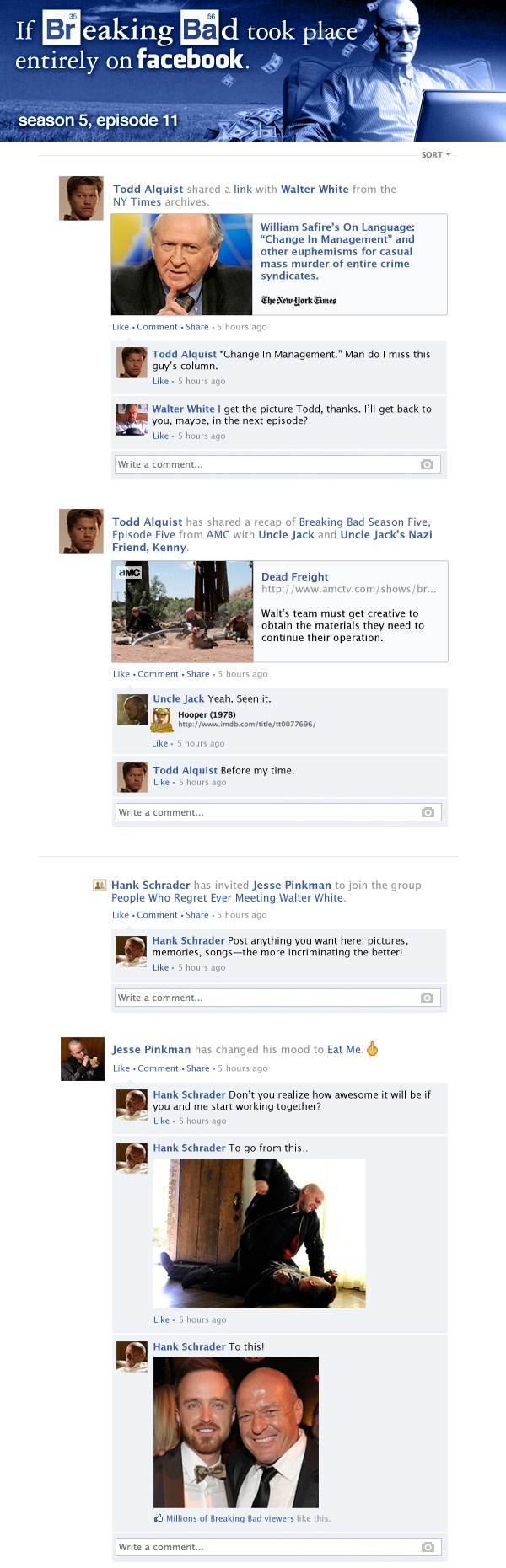 If Breaking Bad took place entirely on Facebook - Season 5, Episode 11.