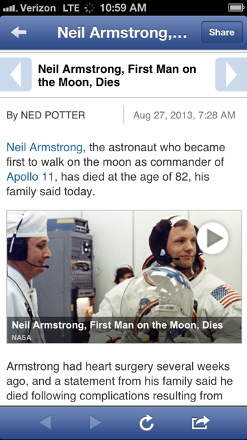 Neil Armstrong died a year ago. But Twitter thinks it happened today.
