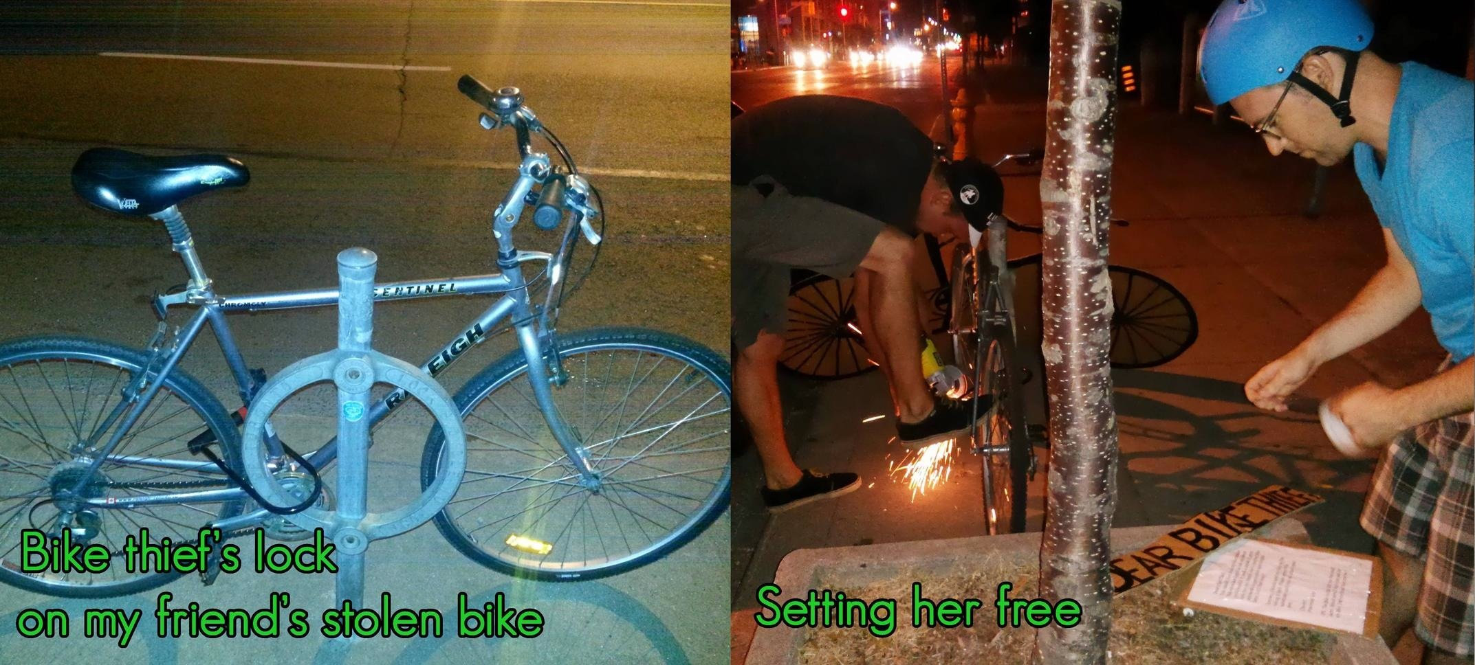 A guy found his stolen bike locked up on the street. So he stole it back and left an awesome note for the thief.