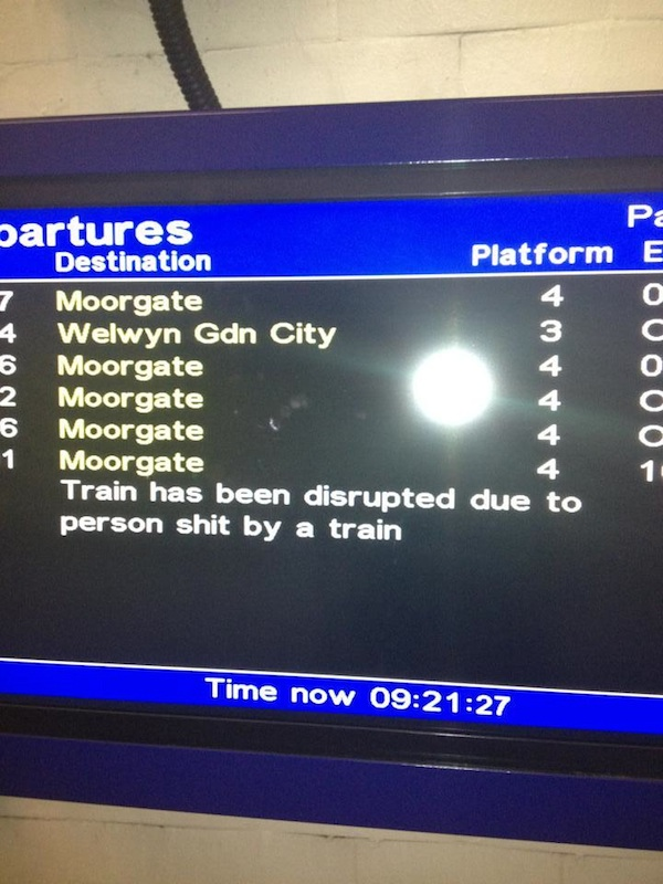 The grossest and most confusing explanation ever for a train delay.