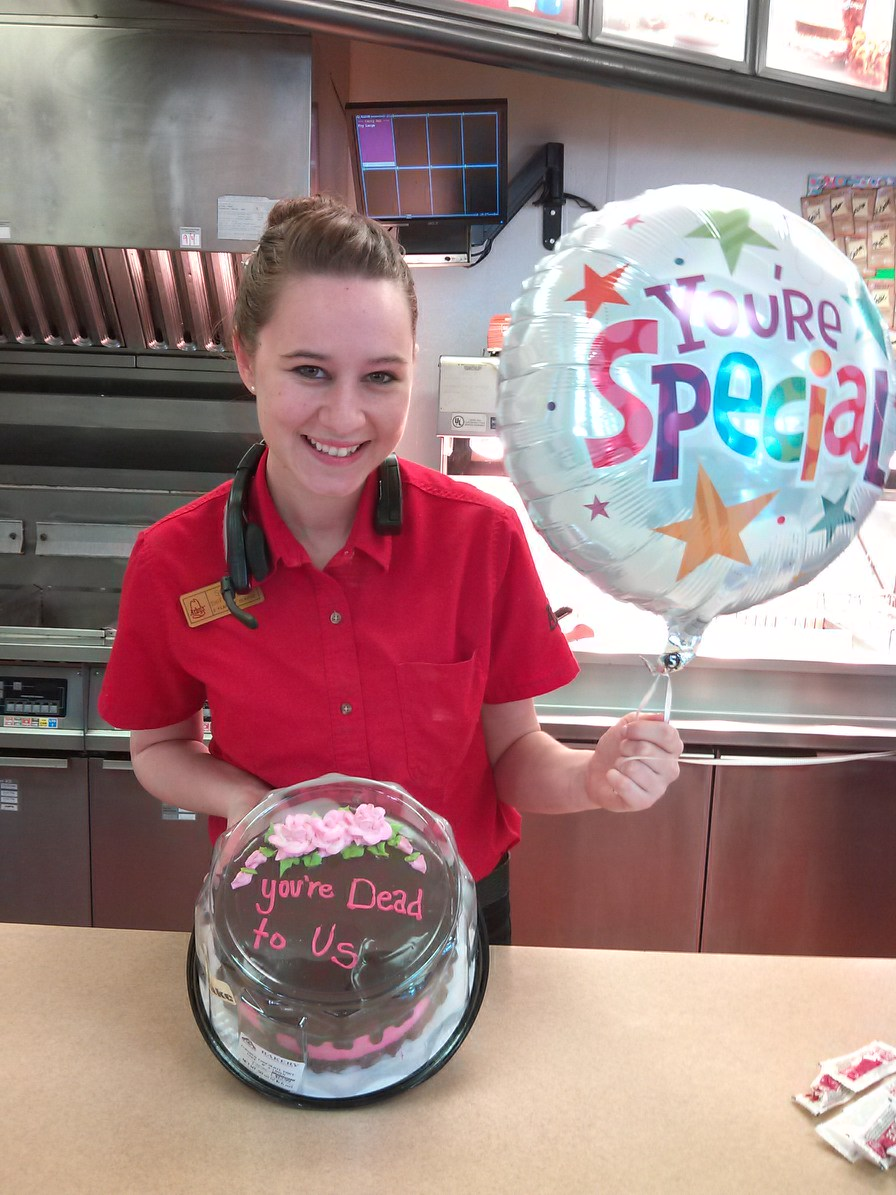 A woman left her job at Arby's after four years. This is the cake her coworkers used to say goodbye.