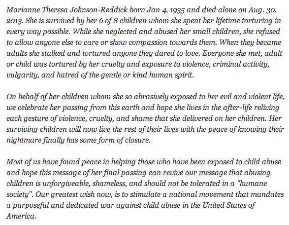 Holy sh*t! Children's scathing obituary of mother is an important reminder to be nice to your kids.