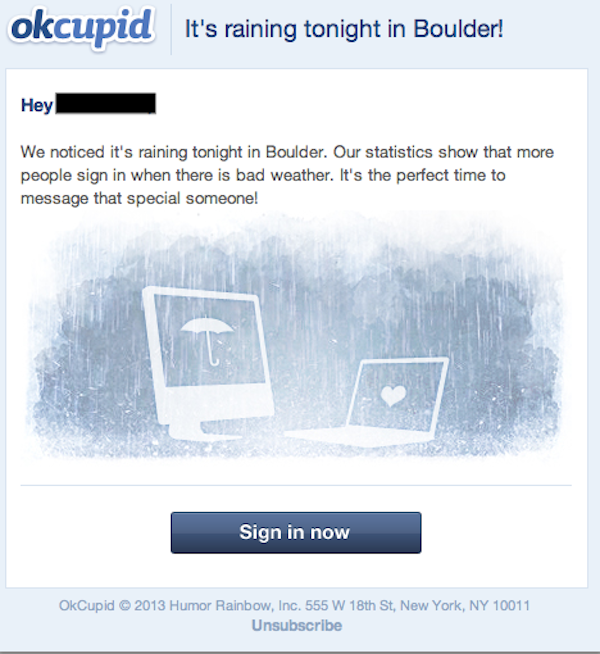 OkCupid attempts to turn devastating Colorado floods into an opportunity for romance.