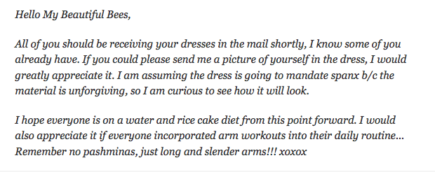 These emails may be the scariest thing a bride has ever written to her bridesmaids.