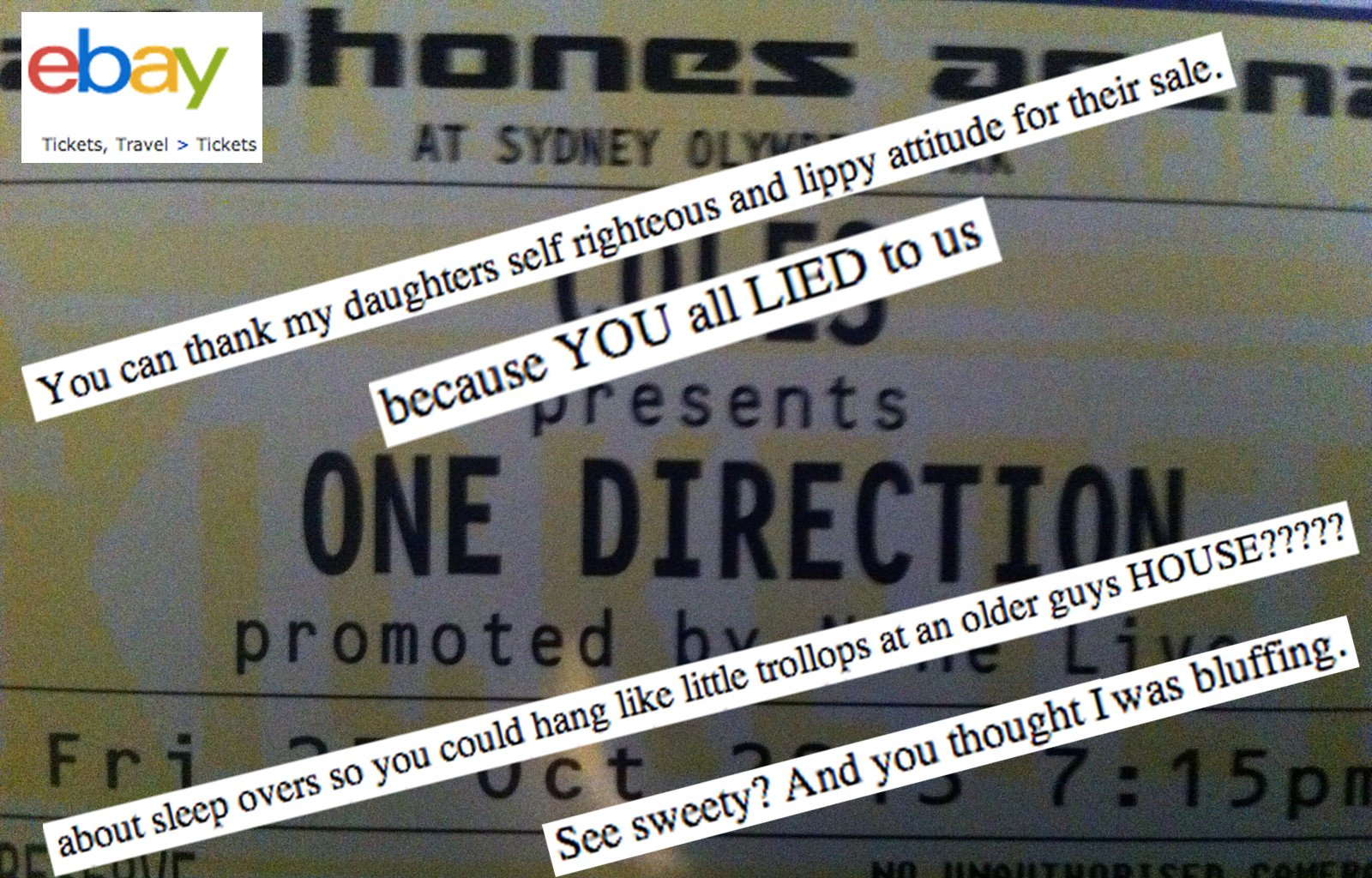 A teen girl lied about spending the night at a boy's house. So her mom sold her One Direction tickets on eBay.