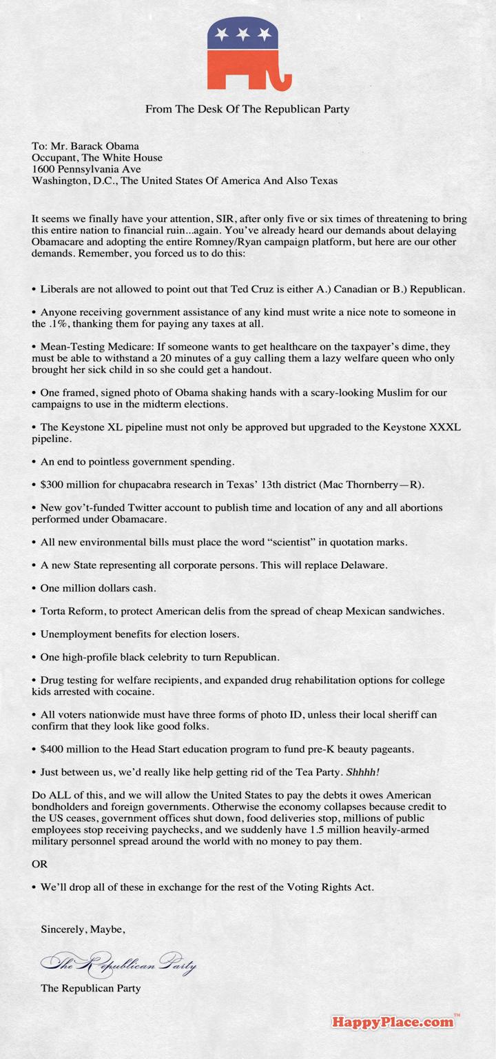 Leaked! Republicans send Obama even more demands for avoiding a government shutdown.
