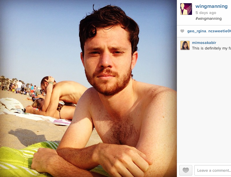 An Instagram of nothing but one guy's selfies taken next to couples making out in public.