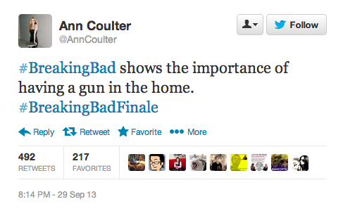 Ann Coulter went on Twitter last night to try and ruin the Breaking Bad finale for everybody.