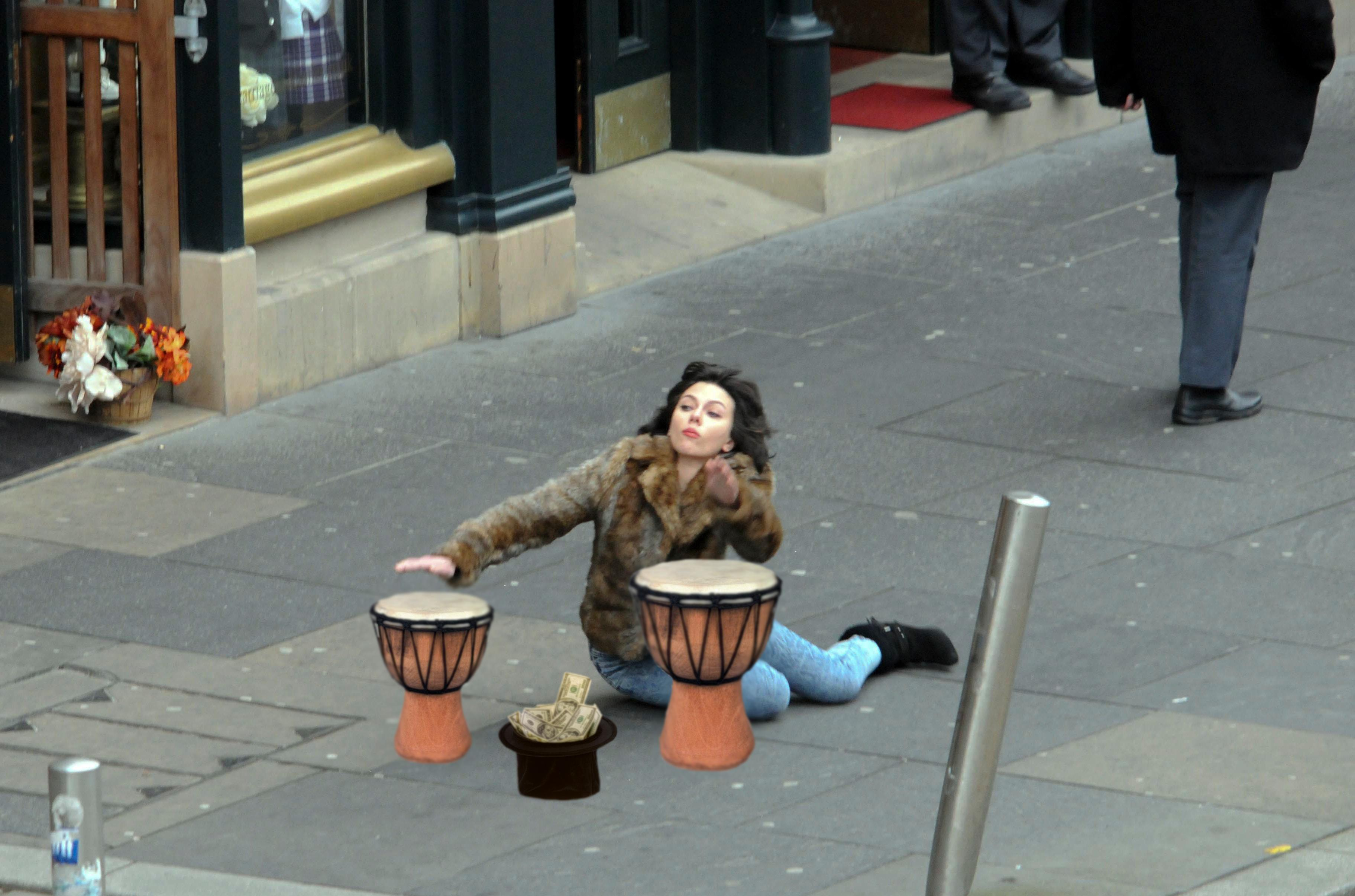 Scarlett Johansson tripped and fell on the street. Naturally, it's now a meme. A GREAT meme.