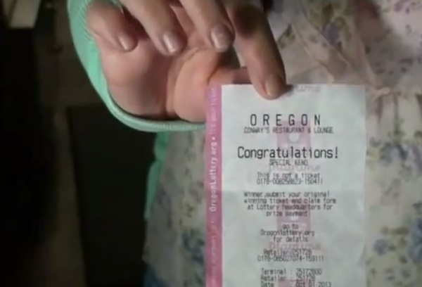 Someone gave his bartender a lottery ticket as a tip. She won $17,500.