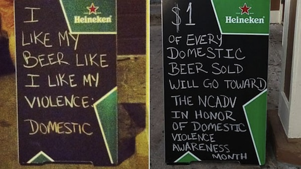 A bar employee thought it would be funny to make a domestic violence joke on their sandwich board. They got fired.