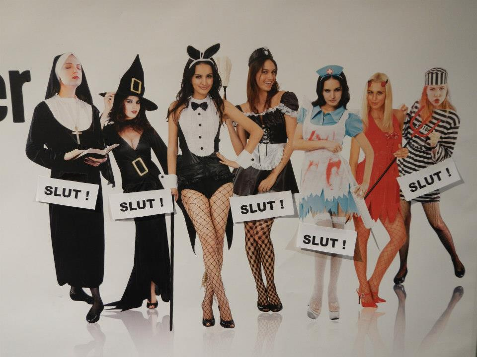 "In Swedish, the word ""slut"" means ""end"" or ""finished."" That's led to a pretty funny Halloween costume store sign."