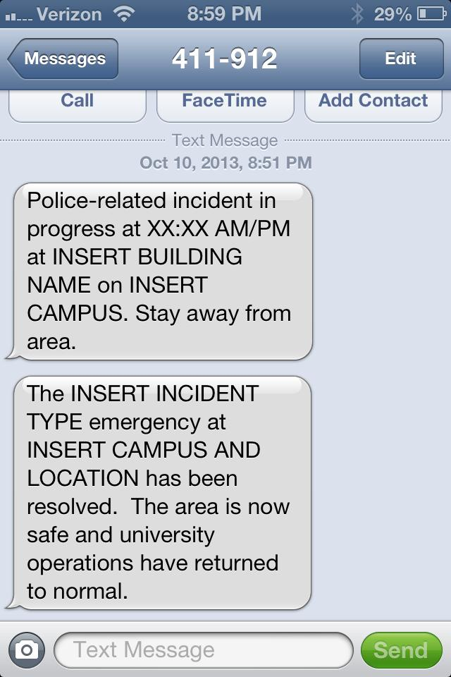 University sends out urgent text warning students to stay away from [INSERT BUILDING NAME].