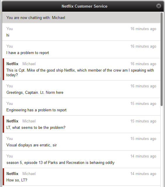 Netflix customer support chat has perfect interaction with customer a man messaged netflix customer support he ended up having the best customer service chat ever m4hsunfo