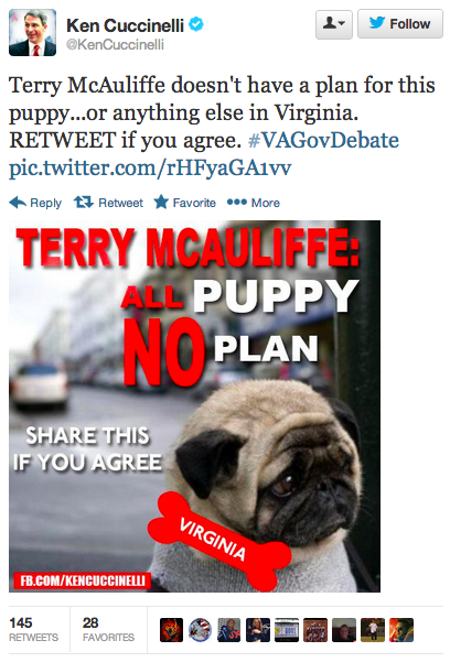 Virginia's GOP candidate for governor caught stealing a puppy picture for the lamest attack ad in history.