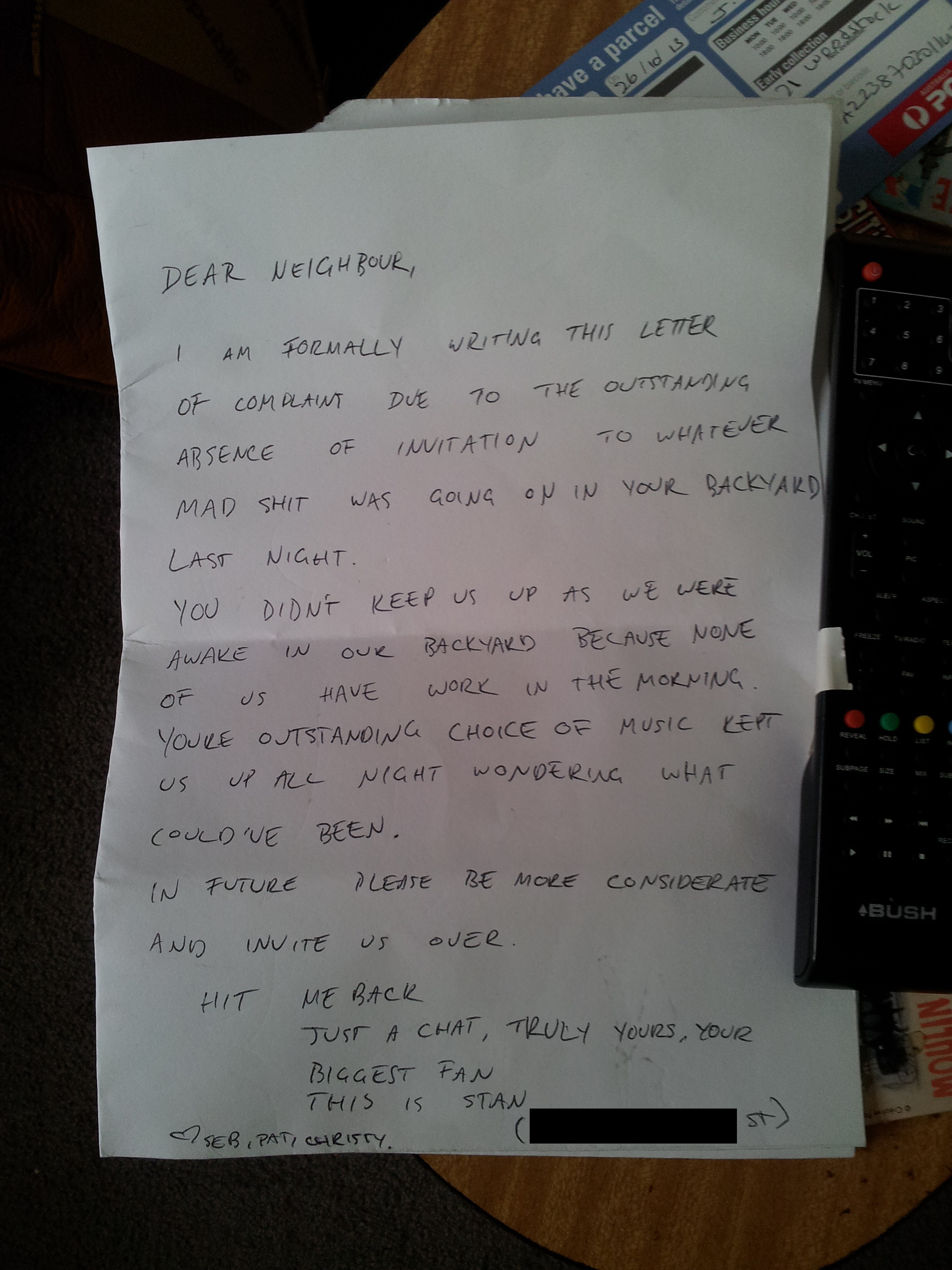 Someone threw a party blasting loud music late at night. Their neighbor complained in the coolest possible way.