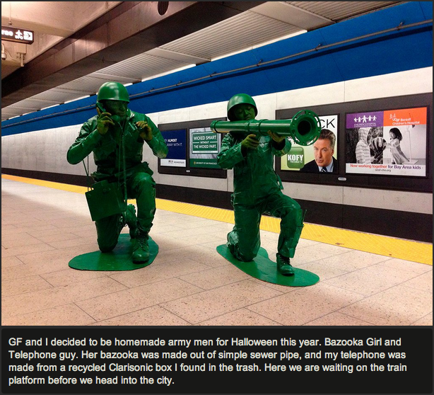This awesome couple went as green Army Men for Halloween. Your move, everyone else on Earth.