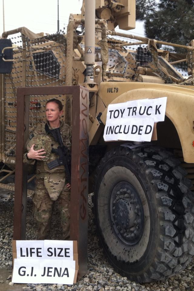 Soldier in Afghanistan uses her surroundings to create the ultimate Halloween costume.