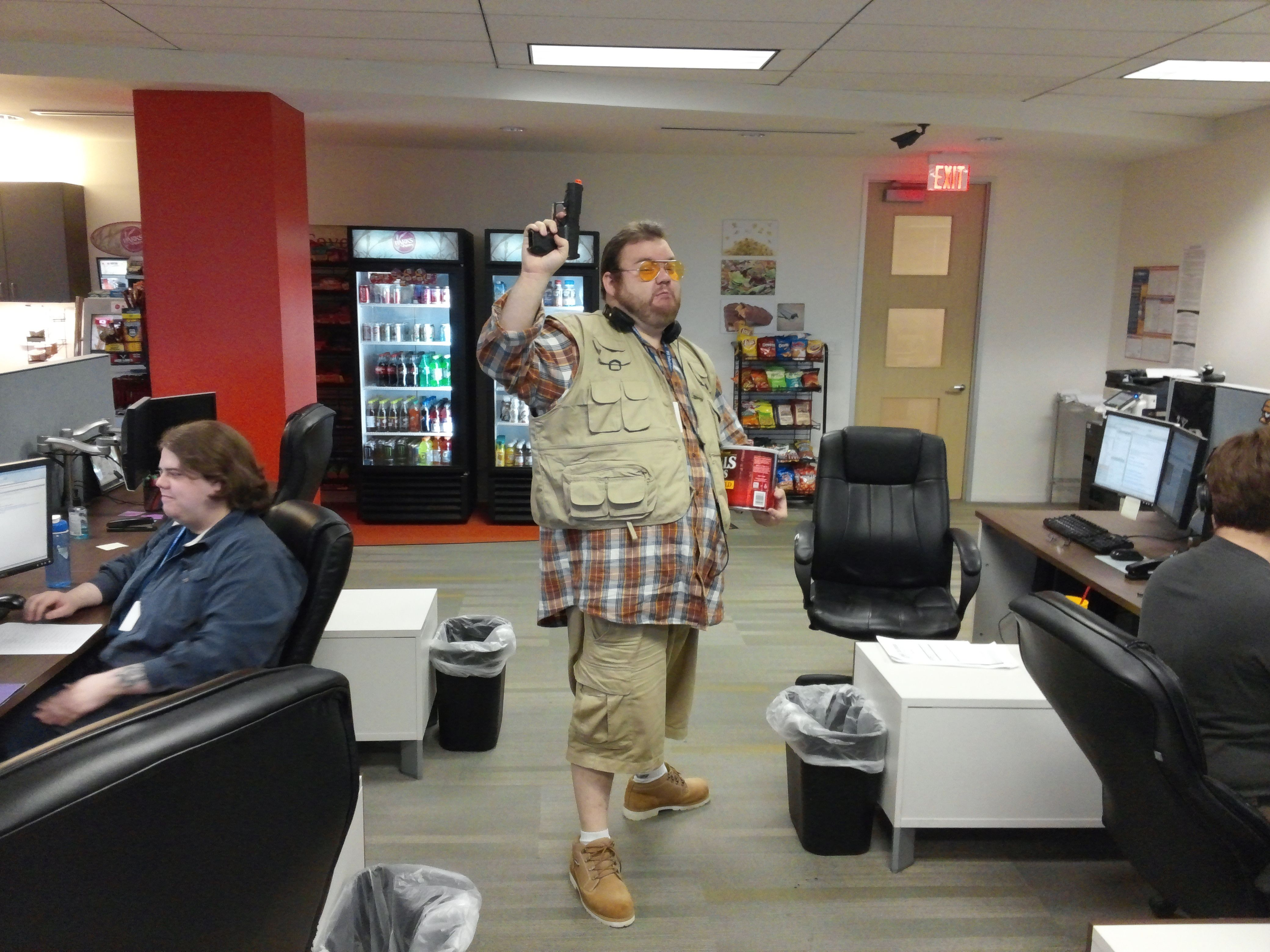The best pictures of people wearing Halloween costumes at work.