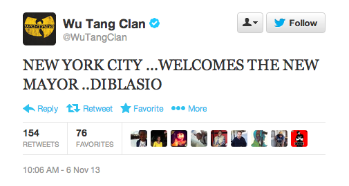 New York's new mayor just received the best (slightly misspelled) tweet he could ask for...from the Wu-Tang Clan.