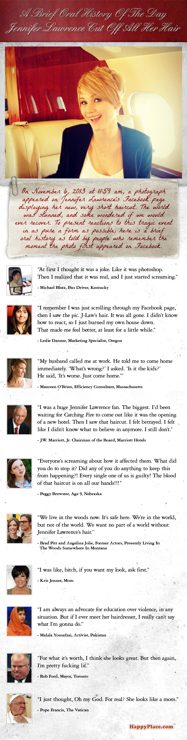 Jennifer Lawrence posted a pic of herself with all her hair cut off yesterday. Here's how the world reacted.