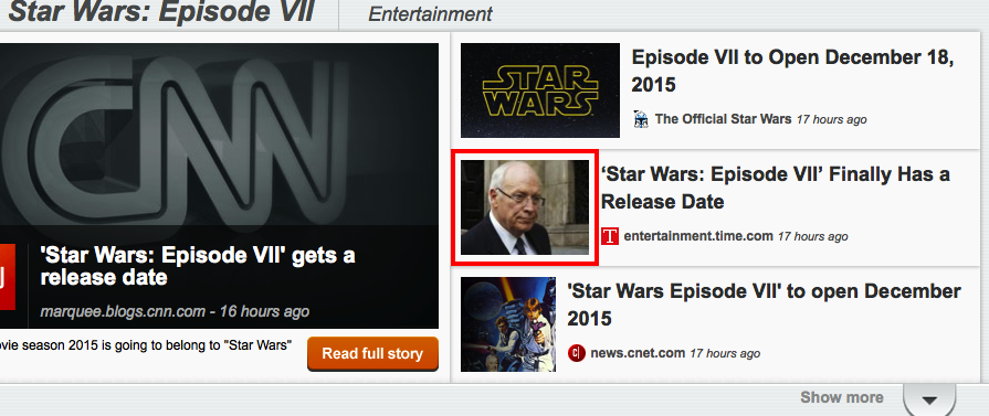 CNN announces release date for new Star Wars movie, confirms Dick Cheney will play Darth Vader.