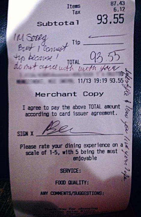 A couple refused to tip their former Marine waitress because she's gay. Here's how the restaurant responded.