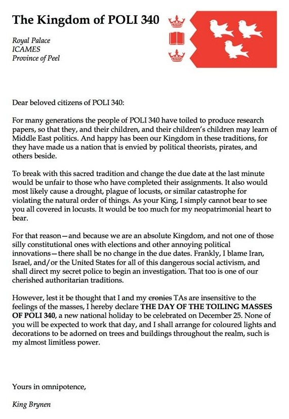 Professor refuses to extend deadline to class in awesome letter about tyranny.
