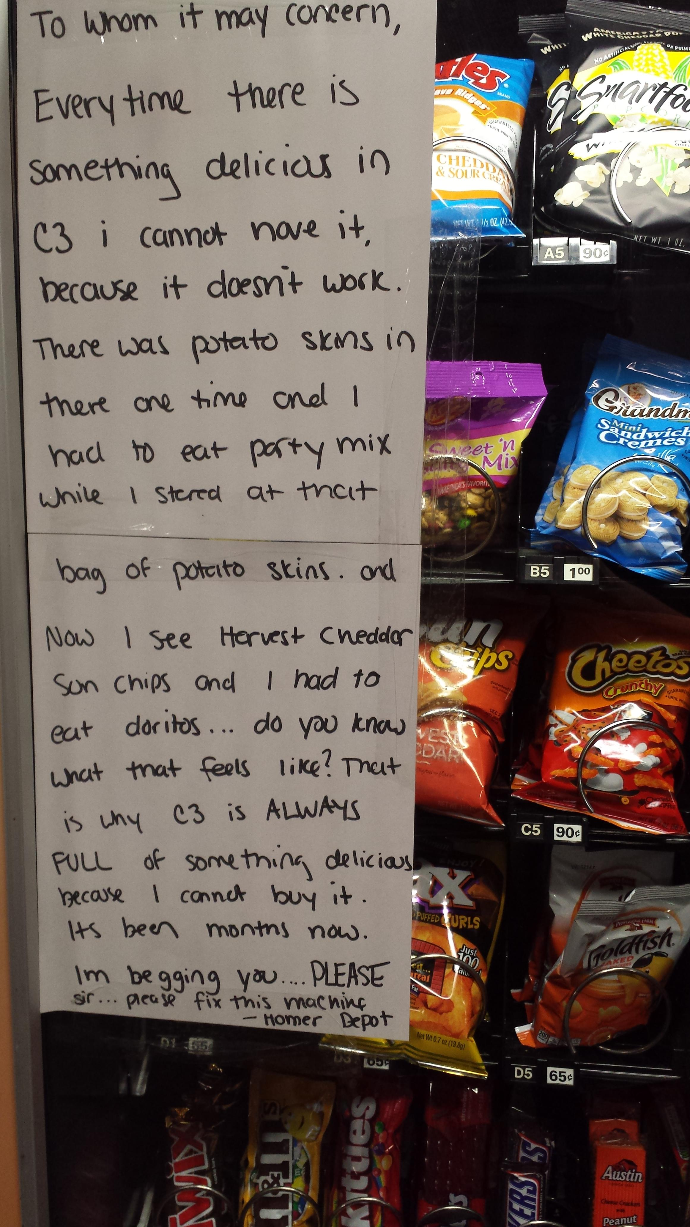 Man's note to vending machine technician may be the most emotional thing you read today.