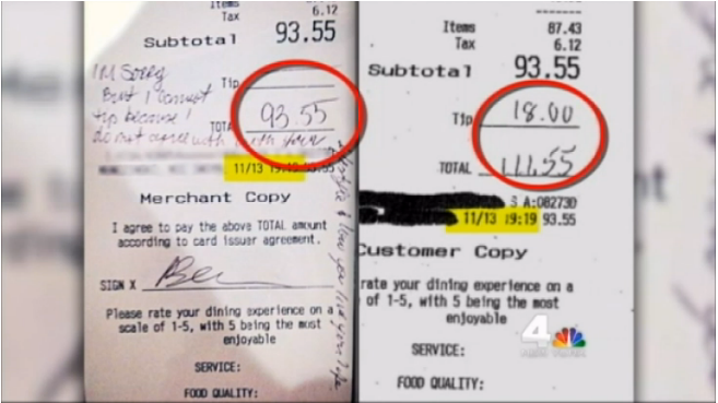 Uh oh. That gay waitress who received a homophobic note instead of a tip? Yeah, looks like that was fake.