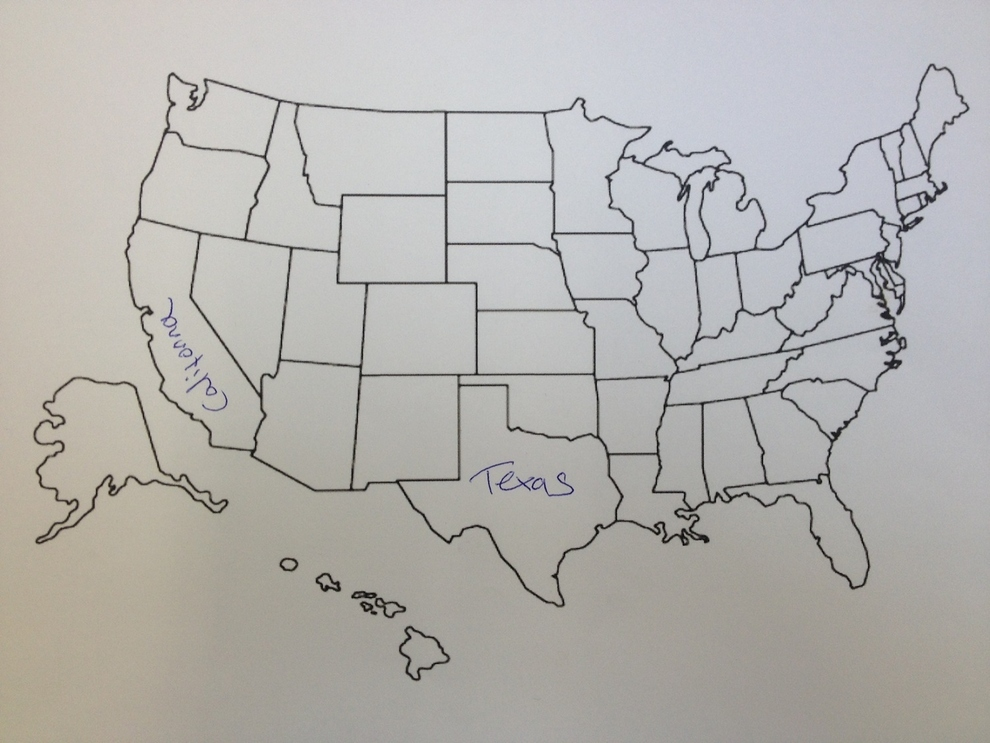 Brits Fail To Fill Out Map Of The United States Someecards Geography - Map of us to fill in