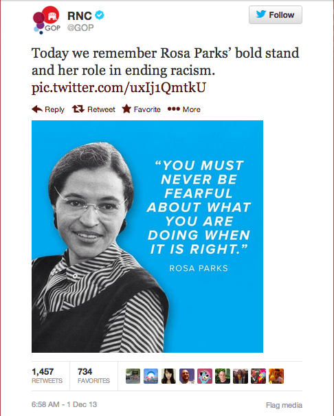 In an early morning tweet, the GOP made a failed tribute to Rosa Parks today, declaring that racism has ended.