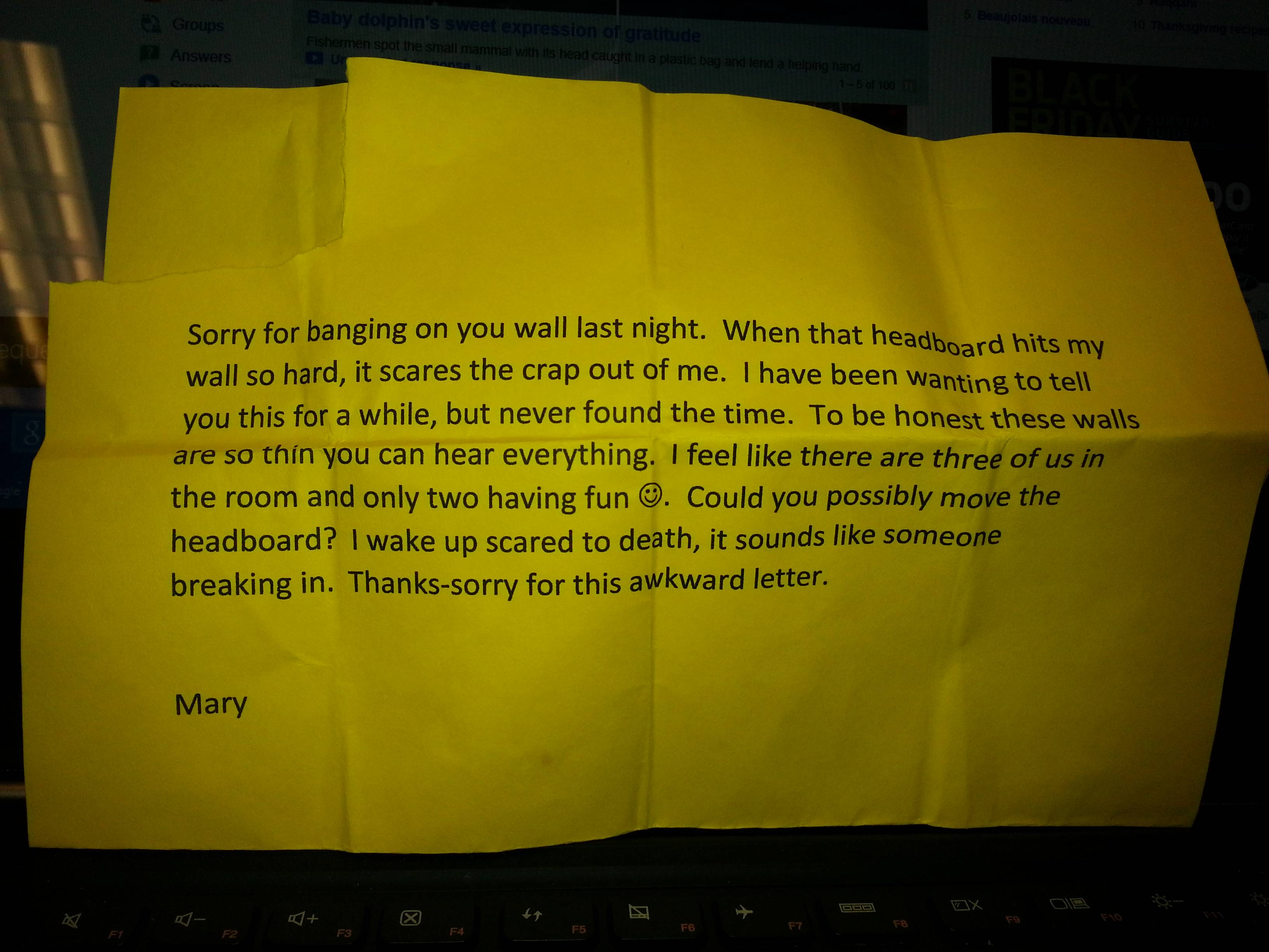 She wrote a letter to the neighbors, who had loud sex, and received an unexpected response