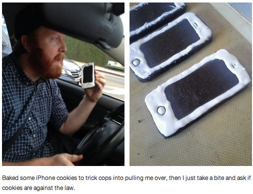 That guy who drove around eating iPhone-shaped cookies to prank cops was predictably pulled over.