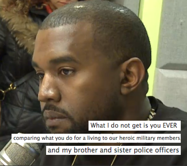 Small-town police chief posts open letter to Kanye West on Facebook, calls him out for comparing himself to police, soldiers.
