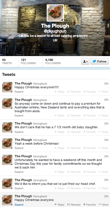 Chef gets fired for asking to see daughter's first Xmas, takes over restaurant's Twitter feed to get revenge.