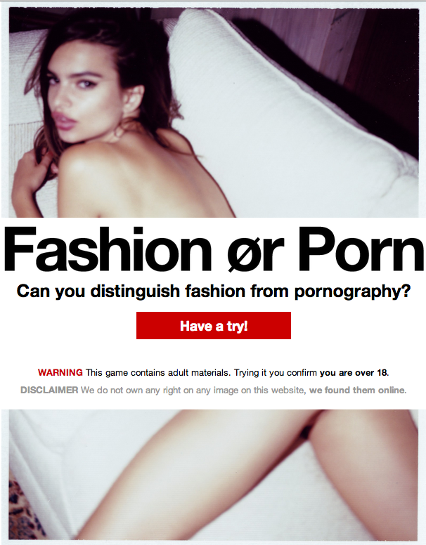 """New game asks you to figure out whether an image is """"Fashion or Porn."""" It's really hard."""