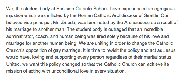 Students at a Catholic high school held a sit-in after their gay vice principal was forced to resign.