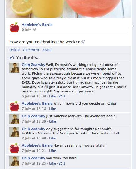 chip zdarsky s applebee s and me facebook conversations with a