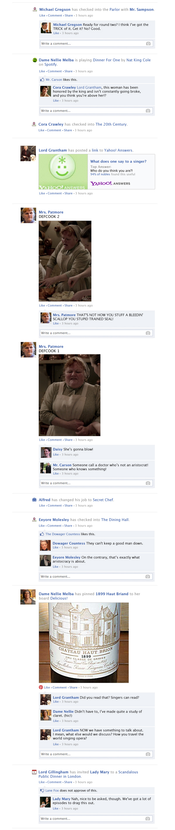 If Downton Abbey took place entirely on Facebook - Season 4, Episode 2.