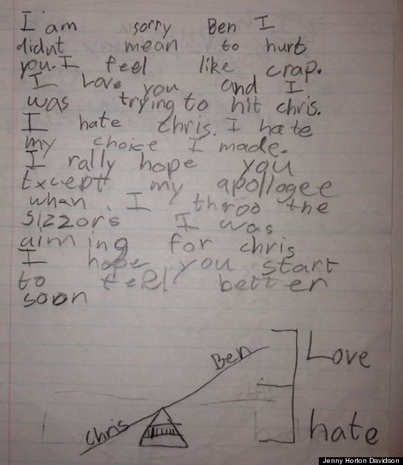 8-year-old kid writes the ultimate sorry-but-not-sorry apology to his brother.