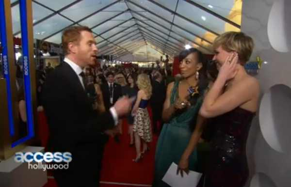 "A red carpet interviewer told Jennifer Lawrence a major ""Homeland"" spoiler. She started crying."