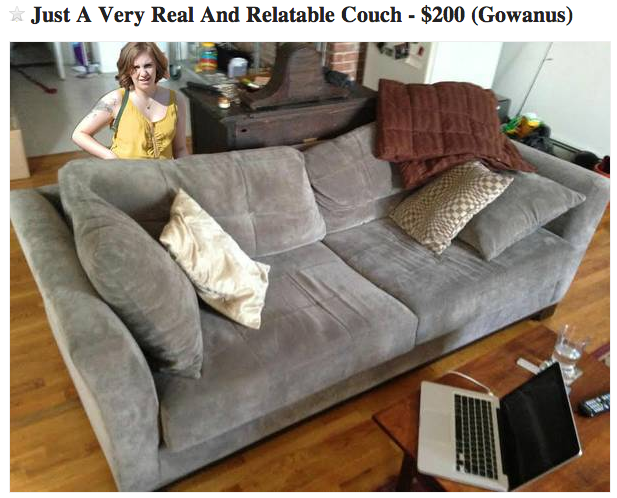 """The """"Lena Dunham of couches"""" seems destined to divide Craig's List customers."""