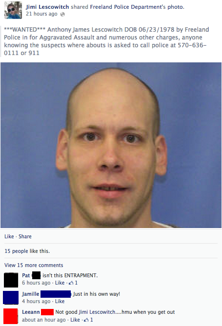 "A suspect shared the police's ""Wanted"" post about himself on Facebook. And then he did something way more stupid."